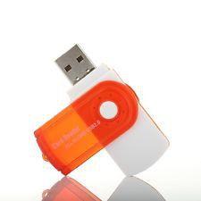 USB 2. 0 Multi Card Reader - White & Orange