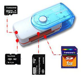 USB 2. 0 Multi Card Reader - White & Blue