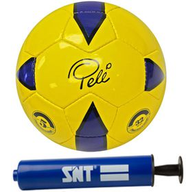 Pele Soccer Ball And SNT Pump - Blue (Size: 5)