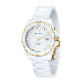 Swiss Eagle-SE-9051-22 GLACIER with White Ceramic Strap/ White Dial with White Lum Indexes Watch