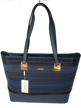 David Jones PU Leather Tote - Dark Blue 5267-2
