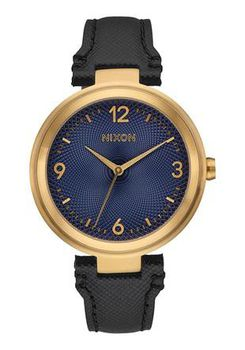 Nixon Chameleon Leather Black & Gold & Navy Watch A9922356-00