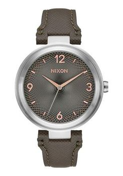 Nixon Chameleon Leather Gunmetal & Rose Gold Watch A9922271-00