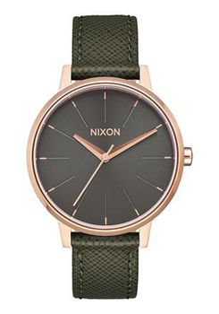 Nixon Kensington Leather Rose Gold & Green Watch A1082283-00