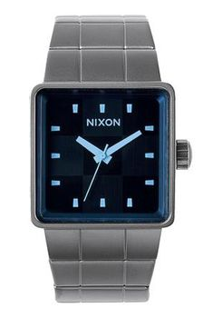 Nixon Quatro Gunmetal & Blue Crystal Watch A0131427-00