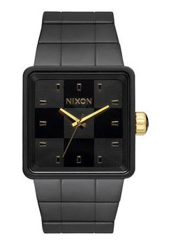 Nixon Quatro Matte Black & Gold Watch A0131041-00