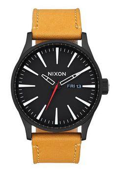 Nixon Sentry Leather All Black & Goldenrod Watch A1052448-00