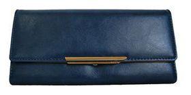 Fino Pu Leather Long Purse A51173 - Dark Blue