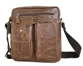 Fino Unisex Genuine Leather Cross Body Sling Bag 8683-3 - Coffee
