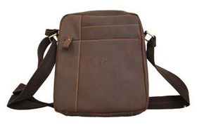Fino Unisex Genuine Leather Cross Body Sling Bag -8475-1# - Coffee
