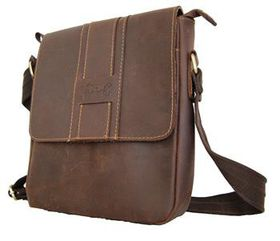 Fino Unisex Genuine Leather Cross Body Sling Bag -8261-2# - Coffee