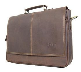 Fino Genuine Leather 15'' Messenger Laptop Bag-8419-2# - Coffee