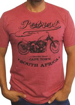 Petrol Clothing Co Unisex Bobber Sketch F1 T-Shirt - Red Melange