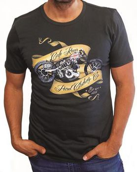Petrol Clothing Co Men's Cafe Racer T-Shirt - Charcoal