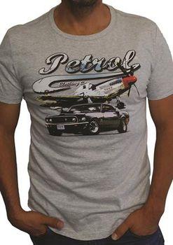 Petrol Clothing Co Men's Mustang & P51 T-Shirt - Grey Melange