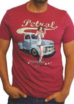 Petrol Clothing Co Men's Old Ford & Pin-Up T-Shirt - Burgundy Melange