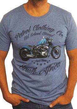 Petrol Clothing Co Men's Old School Brand T-Shirt - Denim Melange