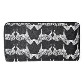 Lily&Rose Black Zip Through Purse Zebra Animal Design TLP018