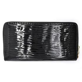 Lily&Rose Black Pu, Linear Detail With Gloss Finish Zip Through Purse TLP028