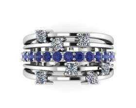 CD Designer Jewellry Ladies 3.79ctw Natural Tanzanite & Clear CZ Dress Ring - In 925 Sterling Silver (Ring Size: Q 1/2)