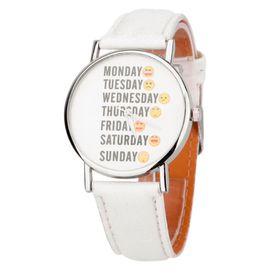 Urban Charm Days of the Week Emoticon Watch - White