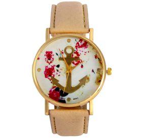 Urban Charm Golden Anchor Watch - Beige