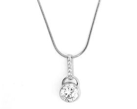Skyla Jewels 925 Sterling Silver Round Crystal Necklace on Snake Chain