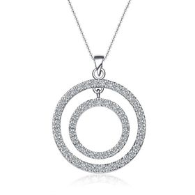 Skyla Jewels 925 Sterling Silver Double Circle Necklace on Snake Chain