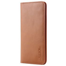 FLOVEME Vintage Premium Leather 2 in 1 Cellphone Wallet Cover Case Universal For Smartphones Up To 5.7 Inch - Light Brown