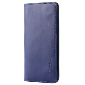 FLOVEME Vintage Premium Leather 2 in 1 Cellphone Wallet Cover Case Universal For Smartphones Up To 5.7 Inch - Navy Blue