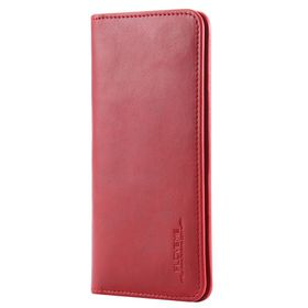 FLOVEME Vintage Premium Leather 2 in 1 Cellphone Wallet Cover Case Universal For Smartphones Up To 5.7 Inch- Red