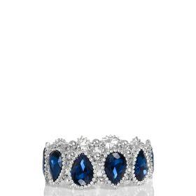 Quiz Silver And Navy Jewel Stretch Bracelet