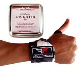 Fitness Freakz Heavy Duty Wrist Straps & Chalk Tin Combo