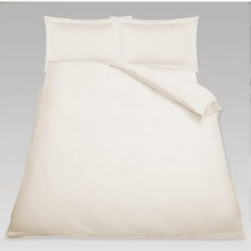 Simon Baker - T230 Oxford Straight Stitched Cotton Percale 3 Piece Duvet Set - Cream