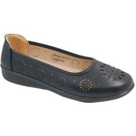 Ladies Comfort Wear Cut-Out Flats - Black