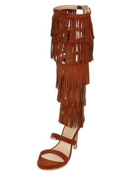 Long Fringed Gladiator Heels - Cognac