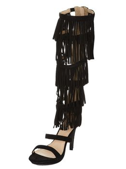Long Fringed Gladiator Heels - Black