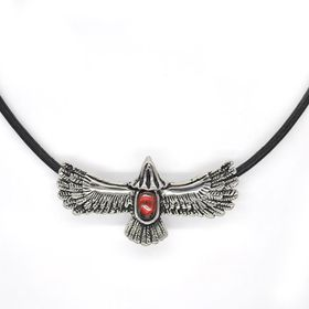 Xcalibur Stainless Steel Oxidise With Red Centre Eagle Pendant - TXN038