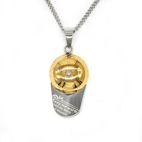 "Xcalibur Stainless Steel Two Tone Engraved ""Keep Me Warm"" Cap Pendant - TXN050"