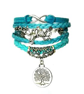 Urban Charm Lovebirds Kissing and Tree of Life Infinity Bracelet - Blue