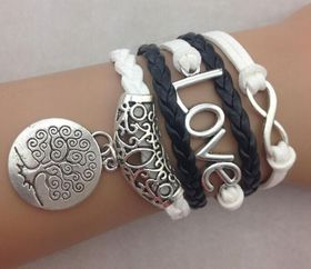 Urban Charm Love and Tree of Life Infinity Bracelet - Black & White