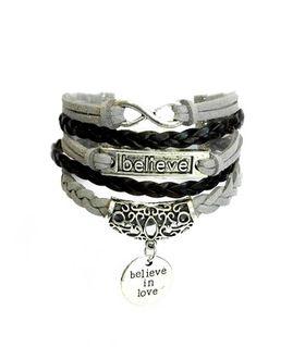 Urban Charm Believe In Love Infinity Bracelet - Black & Grey