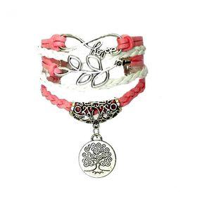 Urban Charm Hope and Tree of Life Infinity Bracelet - Pink a& White
