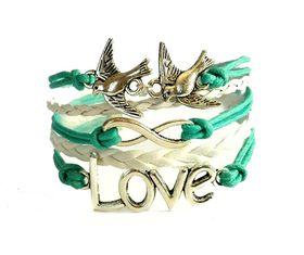 Urban Charm Doves in Love Infinity Bracelet - Turquoise & White