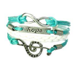 Urban Charm Hope and Music Infinity Bracelet - Turquoise & White