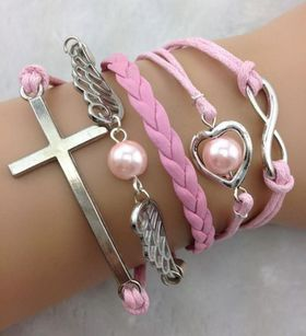 Urban Charm Angel Wings & Faith Infinity Bracelet - Pink