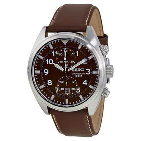 Seiko Men's SNN241 Stainless Steel Watch with Brown Leather Band (Parallel Import)