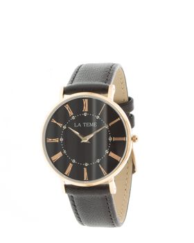 Le Teme Rose Gold Ladies Watch Black Leather Strap - Black
