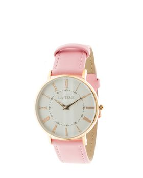 Le Teme Rose Gold Ladies Watch Pink Leather Strap - Pink