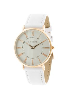 Le Teme Rose Gold Ladies Watch White Leather Strap - White